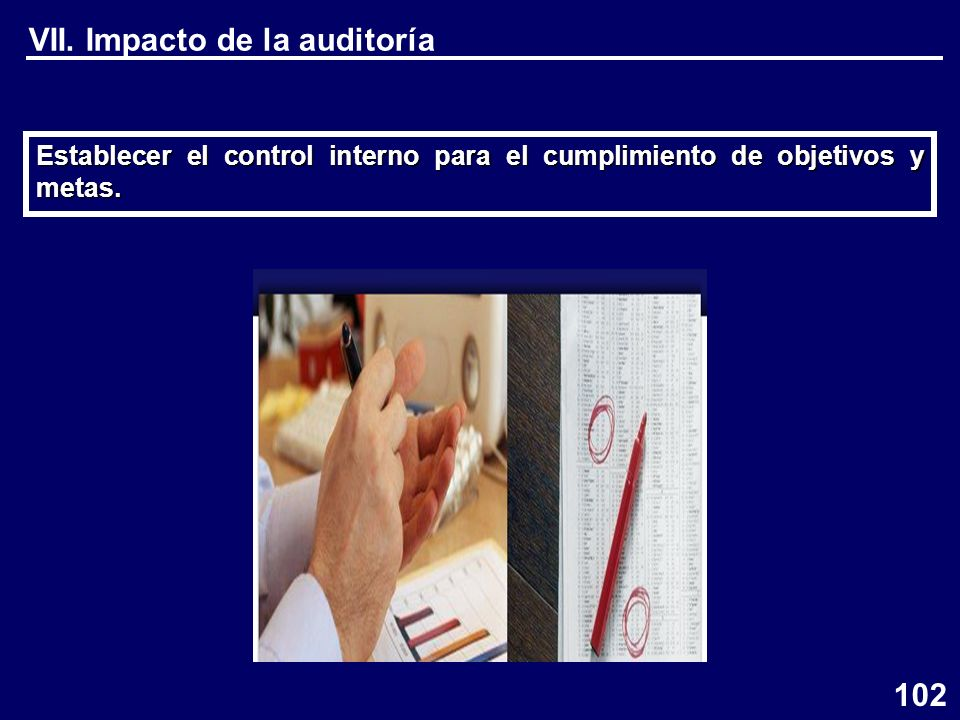 VII. Impacto de la auditoría Establecer el control interno para el cumplimiento de objetivos y metas. 102