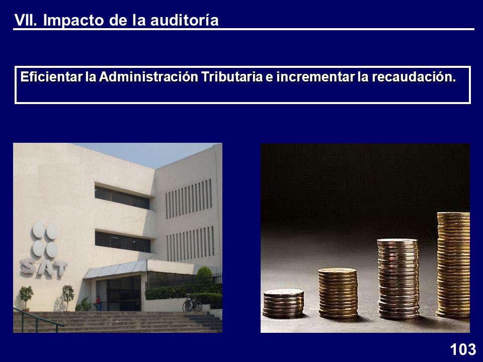 VII. Impacto de la auditoría Eficientar la Administración Tributaria e incrementar la recaudación.