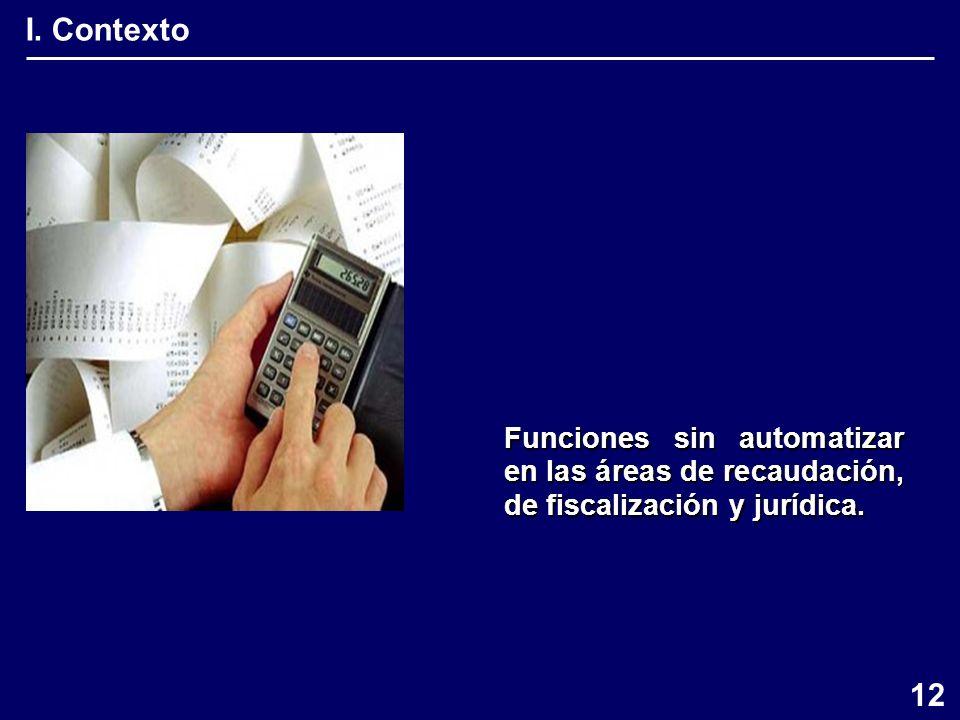 I. Contexto Funciones sin automatizar en las áreas de recaudación, de fiscalización y jurídica. 12