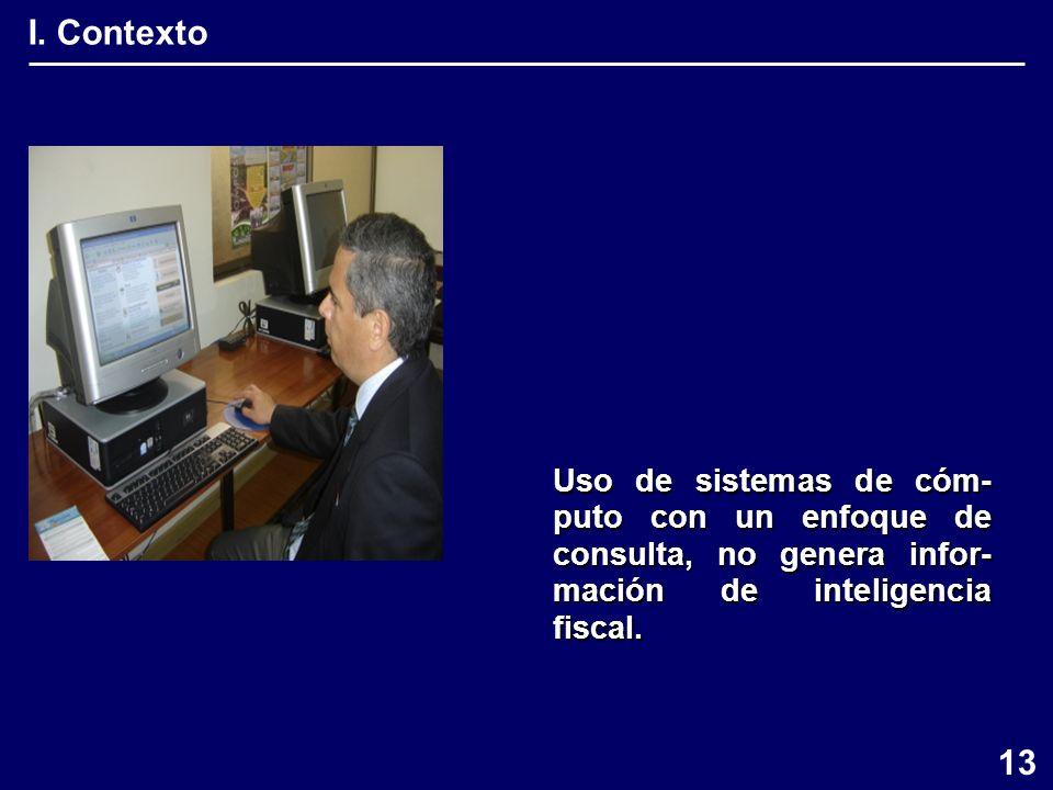 I. Contexto Uso de sistemas de cóm- puto con un enfoque de consulta, no genera infor- mación de inteligencia fiscal. 13