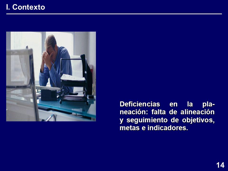 I. Contexto Deficiencias en la pla- neación: falta de alineación y seguimiento de objetivos, metas e indicadores. 14
