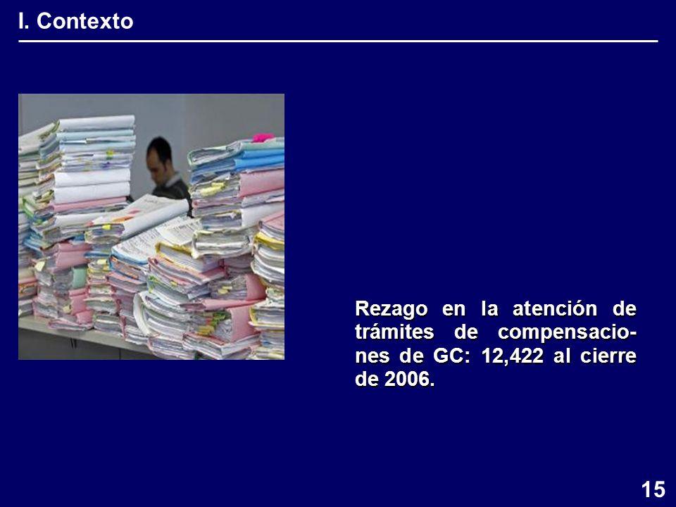I. Contexto Rezago en la atención de trámites de compensacio- nes de GC: 12,422 al cierre de 2006.