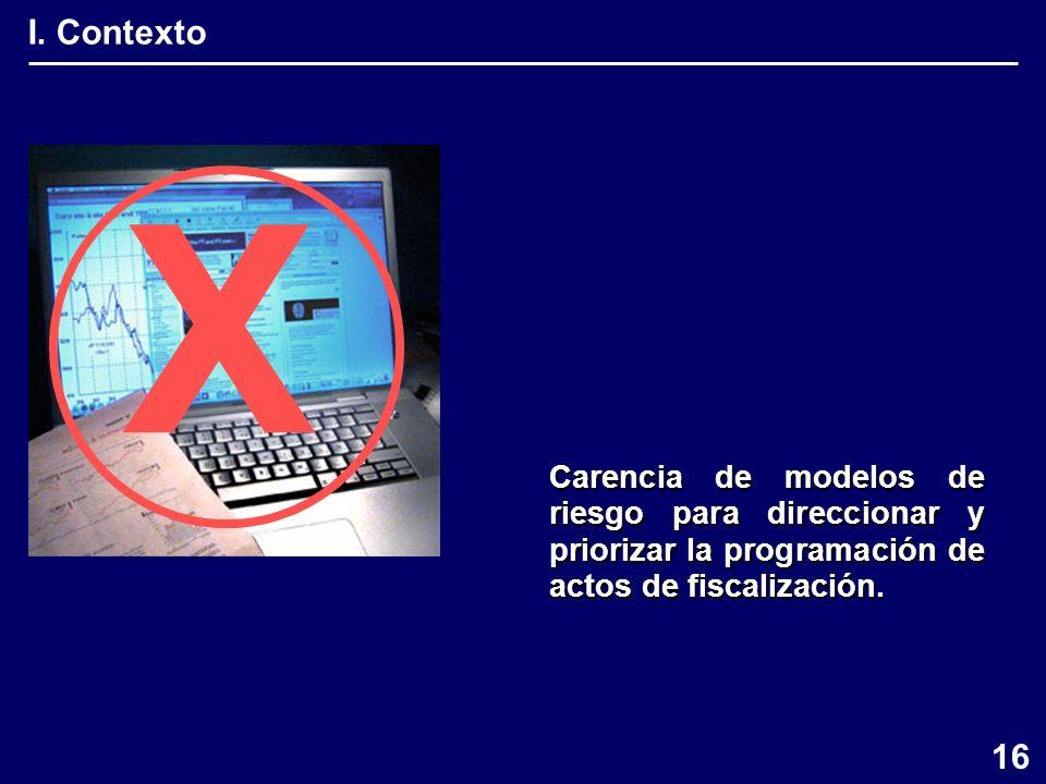 I. Contexto X Carencia de modelos de riesgo para direccionar y priorizar la programación de actos de fiscalización. 16