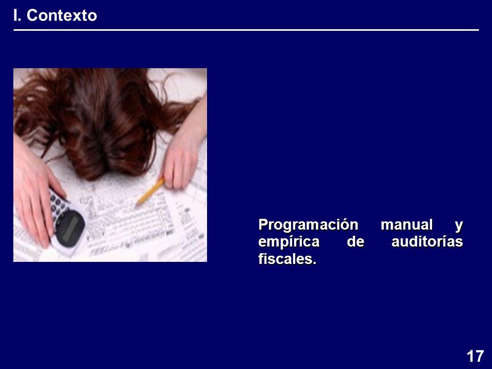 I. Contexto Programación manual y empírica de auditorías fiscales. 17