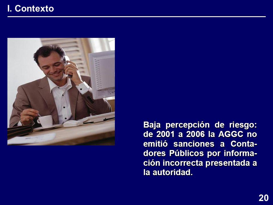 I. Contexto Baja percepción de riesgo: de 2001 a 2006 la AGGC no emitió sanciones a Conta- dores Públicos por informa- ción incorrecta presentada a la