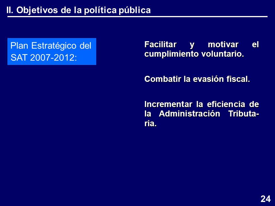 II. Objetivos de la política pública Plan Estratégico del SAT 2007-2012: Facilitar y motivar el cumplimiento voluntario. Combatir la evasión fiscal. I