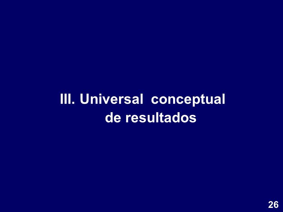 III. Universal conceptual de resultados 26