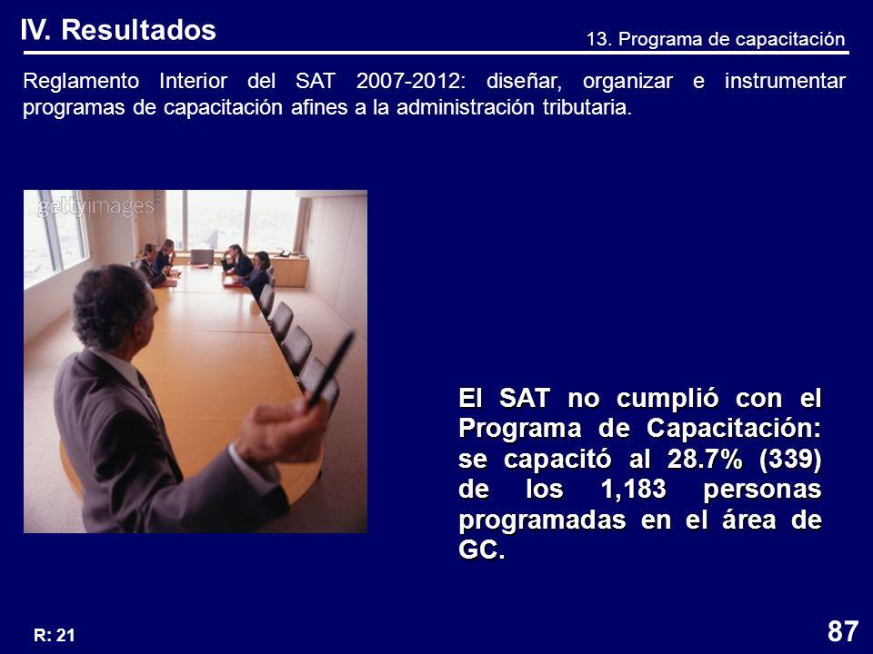 Reglamento Interior del SAT 2007-2012: diseñar, organizar e instrumentar programas de capacitación afines a la administración tributaria.