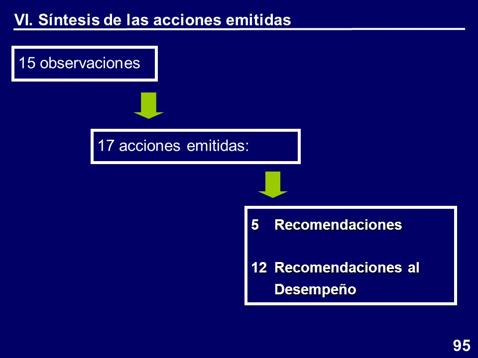 VI. Síntesis de las acciones emitidas 15 observaciones 95 17 acciones emitidas: 5Recomendaciones 12 Recomendaciones al Desempeño Desempeño