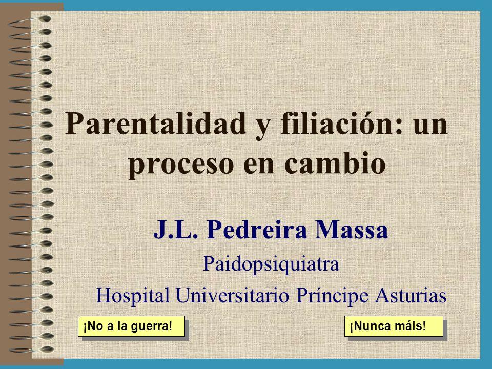 Parentalidad y filiación: un proceso en cambio J.L. Pedreira Massa Paidopsiquiatra Hospital Universitario Príncipe Asturias ¡No a la guerra! ¡Nunca má