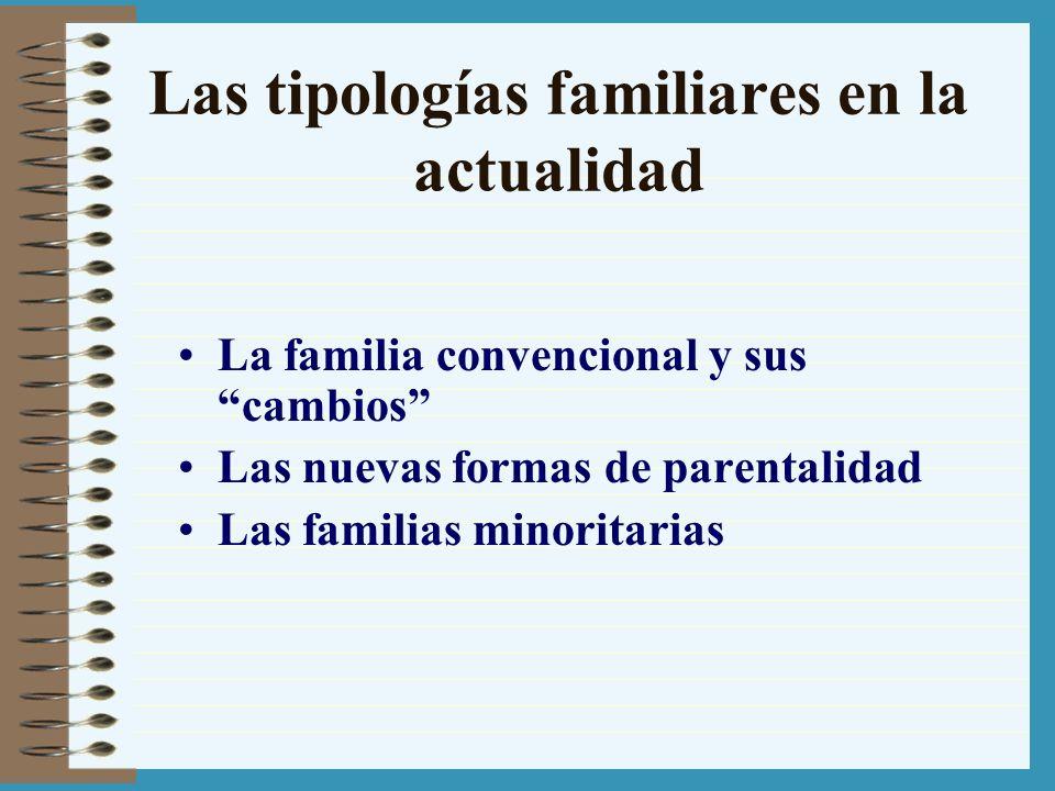 Las tipologías familiares en la actualidad La familia convencional y sus cambios Las nuevas formas de parentalidad Las familias minoritarias