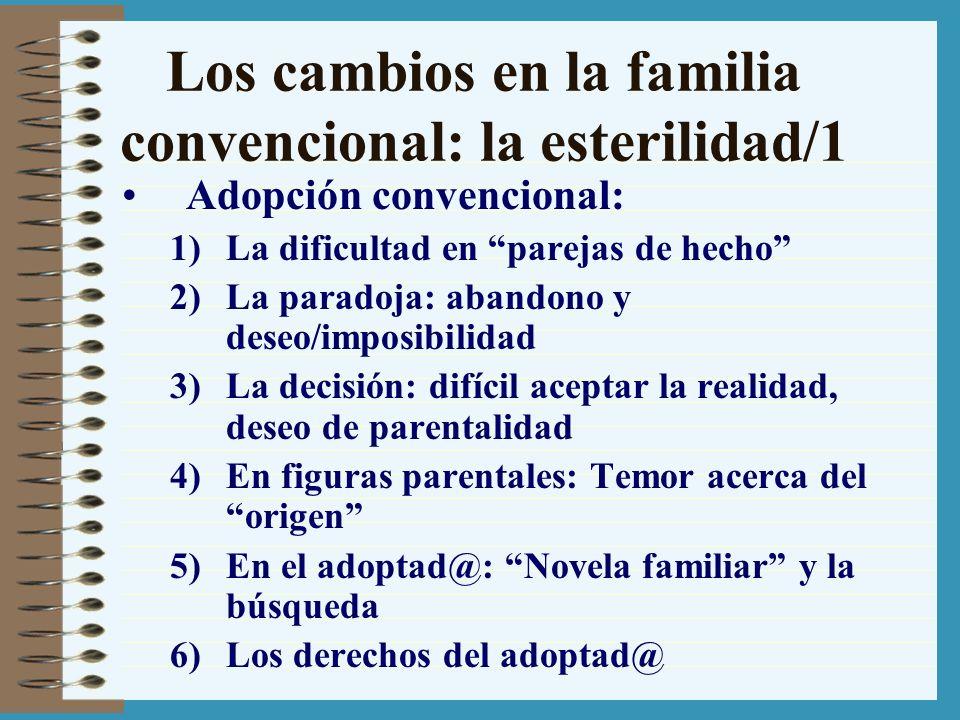 Los cambios en la familia convencional: la esterilidad/1 Adopción convencional: 1)La dificultad en parejas de hecho 2)La paradoja: abandono y deseo/im
