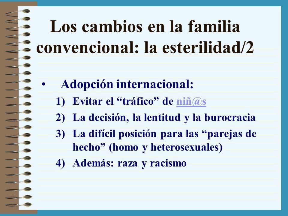 Los cambios en la familia convencional: la esterilidad/2 Adopción internacional: 1)Evitar el tráfico de niñ@sniñ@s 2)La decisión, la lentitud y la bur