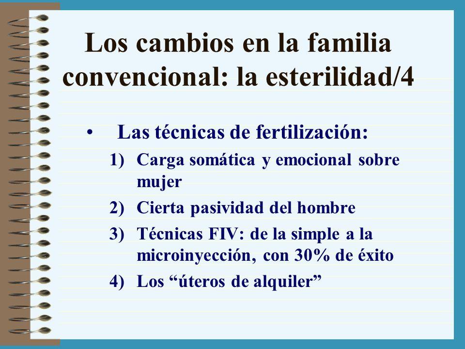 Los cambios en la familia convencional: la esterilidad/4 Las técnicas de fertilización: 1)Carga somática y emocional sobre mujer 2)Cierta pasividad de