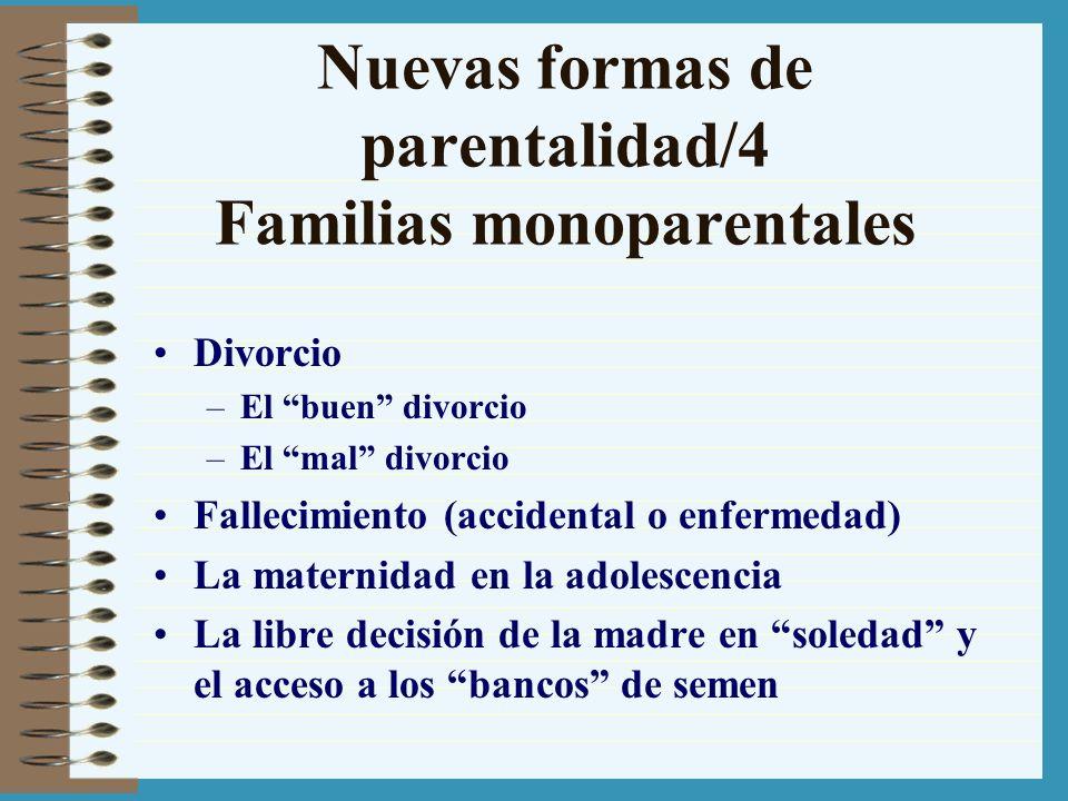 Nuevas formas de parentalidad/4 Familias monoparentales Divorcio –El buen divorcio –El mal divorcio Fallecimiento (accidental o enfermedad) La materni