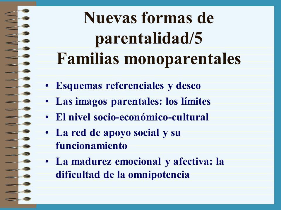 Nuevas formas de parentalidad/5 Familias monoparentales Esquemas referenciales y deseo Las imagos parentales: los límites El nivel socio-económico-cul