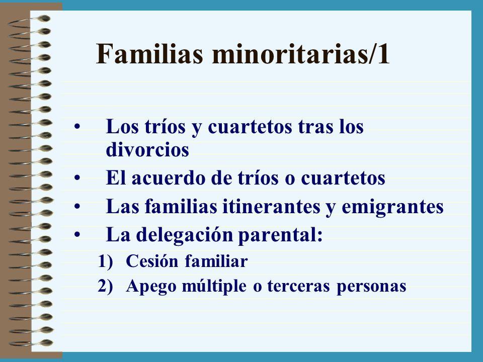 Familias minoritarias/1 Los tríos y cuartetos tras los divorcios El acuerdo de tríos o cuartetos Las familias itinerantes y emigrantes La delegación p