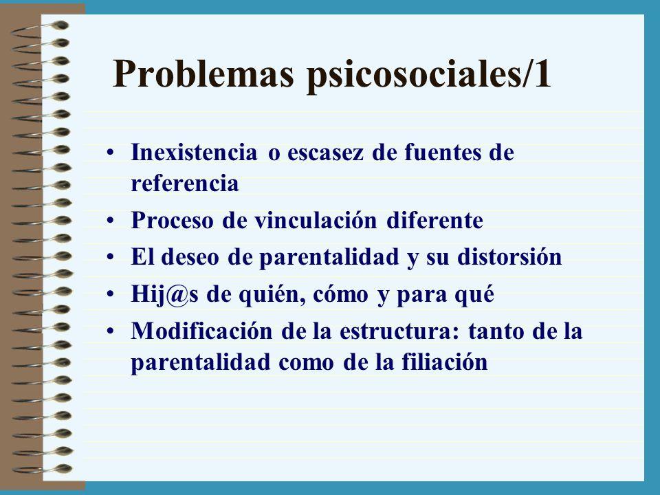 Problemas psicosociales/1 Inexistencia o escasez de fuentes de referencia Proceso de vinculación diferente El deseo de parentalidad y su distorsión Hi