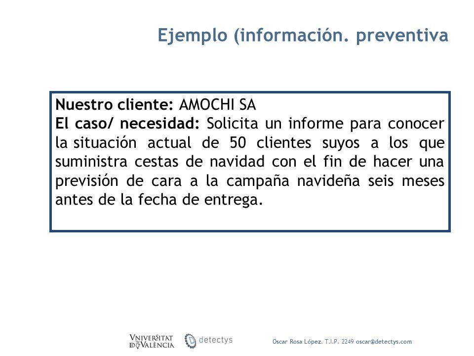 Oscar Rosa López. T.I.P. 2249 oscar@detectys.com Nuestro cliente: AMOCHI SA El caso/ necesidad: Solicita un informe para conocer la situación actual d