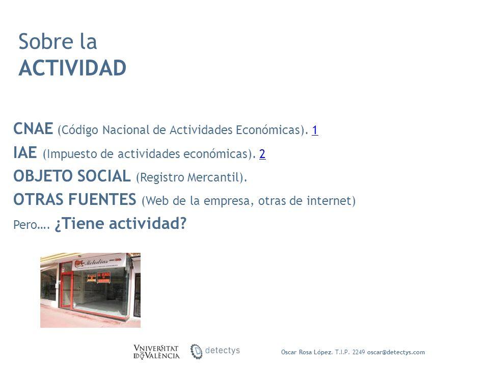 CNAE (Código Nacional de Actividades Económicas). 11 IAE (Impuesto de actividades económicas). 22 OBJETO SOCIAL (Registro Mercantil). OTRAS FUENTES (W