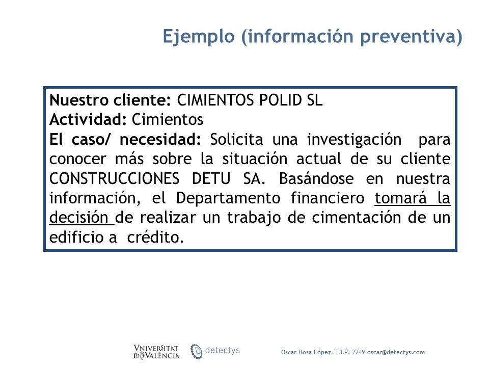 Ejemplo (información preventiva) Oscar Rosa López. T.I.P. 2249 oscar@detectys.com Nuestro cliente: CIMIENTOS POLID SL Actividad: Cimientos El caso/ ne
