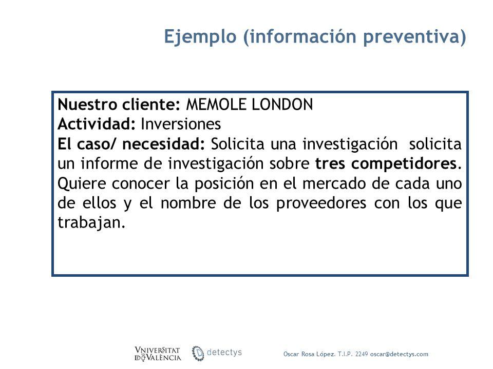 Oscar Rosa López. T.I.P. 2249 oscar@detectys.com Nuestro cliente: MEMOLE LONDON Actividad: Inversiones El caso/ necesidad: Solicita una investigación