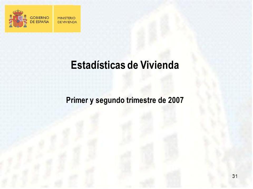 31 Estadísticas de Vivienda Primer y segundo trimestre de 2007