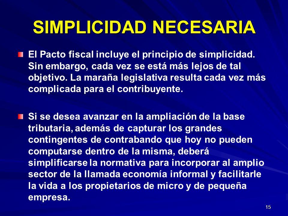 15 SIMPLICIDAD NECESARIA El Pacto fiscal incluye el principio de simplicidad. Sin embargo, cada vez se está más lejos de tal objetivo. La maraña legis
