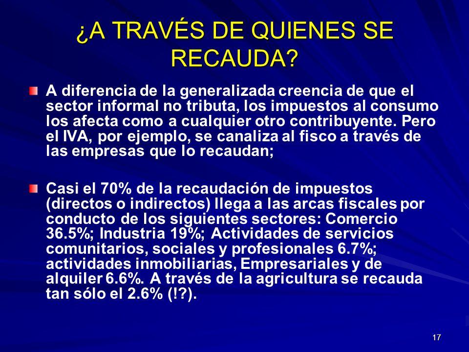 17 ¿A TRAVÉS DE QUIENES SE RECAUDA? A diferencia de la generalizada creencia de que el sector informal no tributa, los impuestos al consumo los afecta