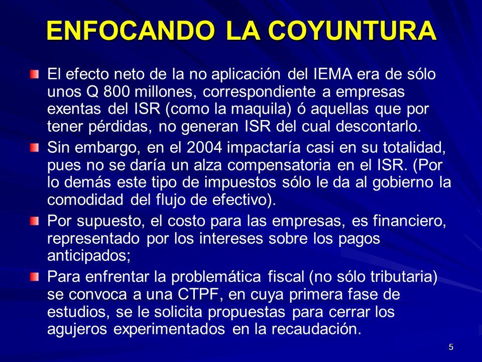 5 El efecto neto de la no aplicación del IEMA era de sólo unos Q 800 millones, correspondiente a empresas exentas del ISR (como la maquila) ó aquellas