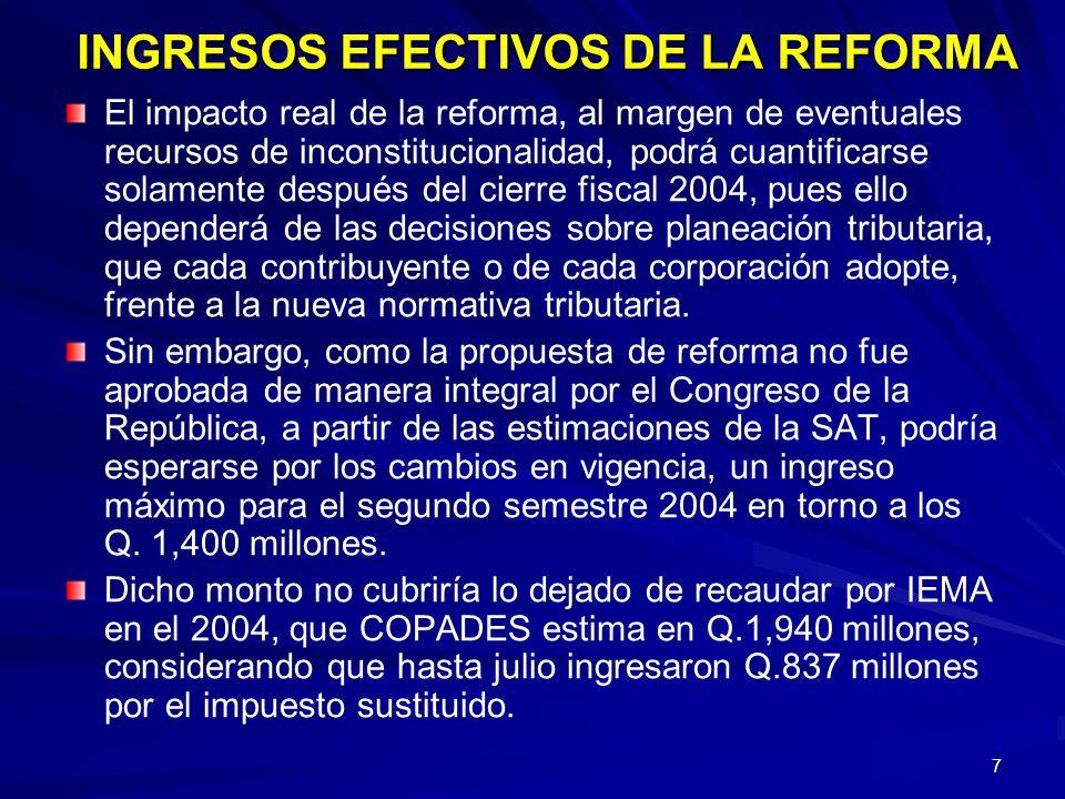 7 INGRESOS EFECTIVOS DE LA REFORMA El impacto real de la reforma, al margen de eventuales recursos de inconstitucionalidad, podrá cuantificarse solame
