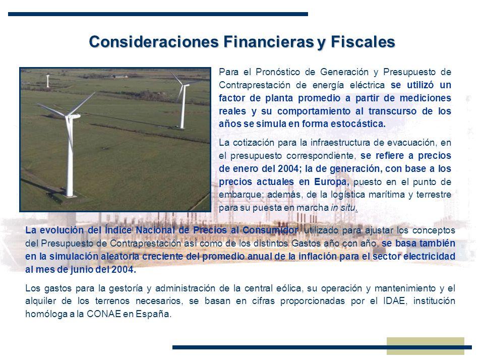 Consideraciones Financieras y Fiscales Para el Pronóstico de Generación y Presupuesto de Contraprestación de energía eléctrica se utilizó un factor de