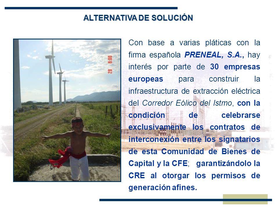 Con base a varias pláticas con la firma española PRENEAL, S.A., hay interés por parte de 30 empresas europeas para construir la infraestructura de ext