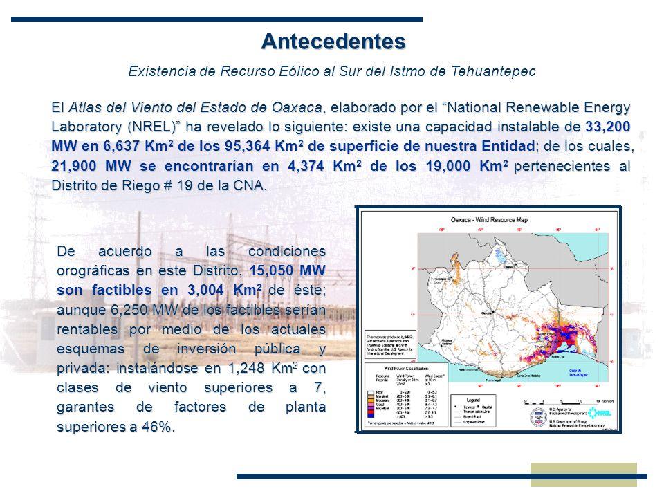 El Atlas del Viento del Estado de Oaxaca, elaborado por el National Renewable Energy Laboratory (NREL) ha revelado lo siguiente: existe una capacidad