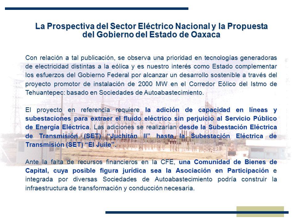 La Prospectiva del Sector Eléctrico Nacional y la Propuesta del Gobierno del Estado de Oaxaca Con relación a tal publicación, se observa una prioridad