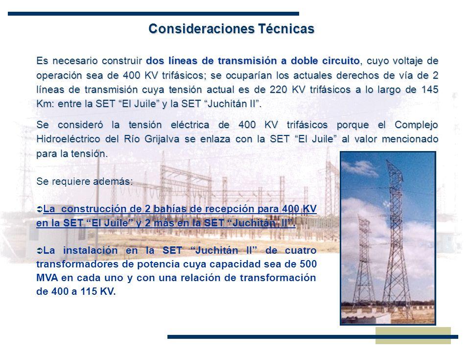 Consideraciones Técnicas Es necesario construir dos líneas de transmisión a doble circuito, cuyo voltaje de operación sea de 400 KV trifásicos; se ocu