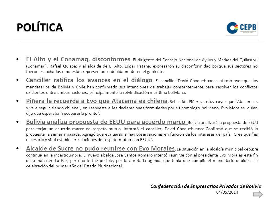 POLÍTICA El Alto y el Conamaq, disconformes. El dirigente del Consejo Nacional de Ayllus y Markas del Qullasuyu (Conamaq), Rafael Quispe; y el alcalde