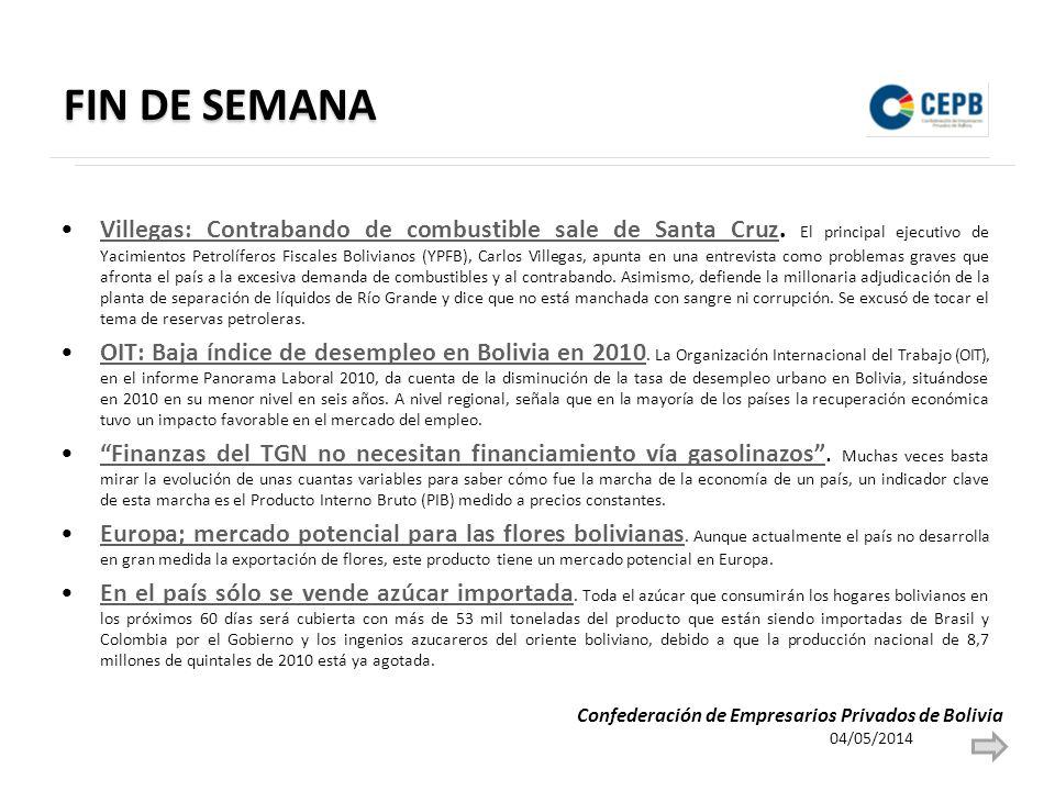 FIN DE SEMANA Villegas: Contrabando de combustible sale de Santa Cruz. El principal ejecutivo de Yacimientos Petrolíferos Fiscales Bolivianos (YPFB),