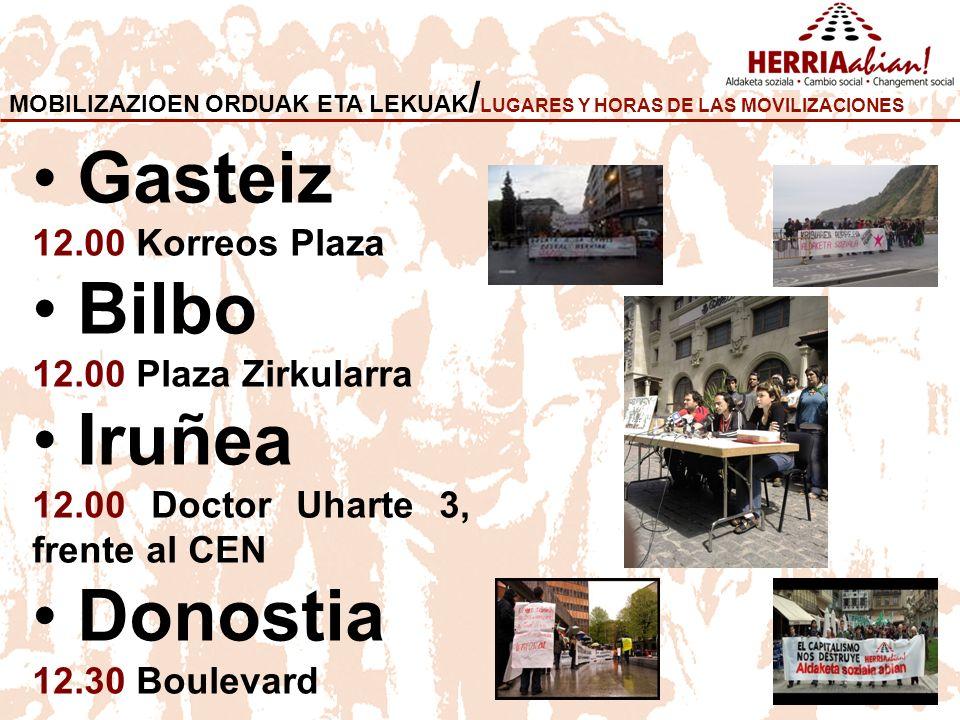 MOBILIZAZIOEN ORDUAK ETA LEKUAK / LUGARES Y HORAS DE LAS MOVILIZACIONES Gasteiz 12.00 Korreos Plaza Bilbo 12.00 Plaza Zirkularra Iruñea 12.00 Doctor Uharte 3, frente al CEN Donostia 12.30 Boulevard
