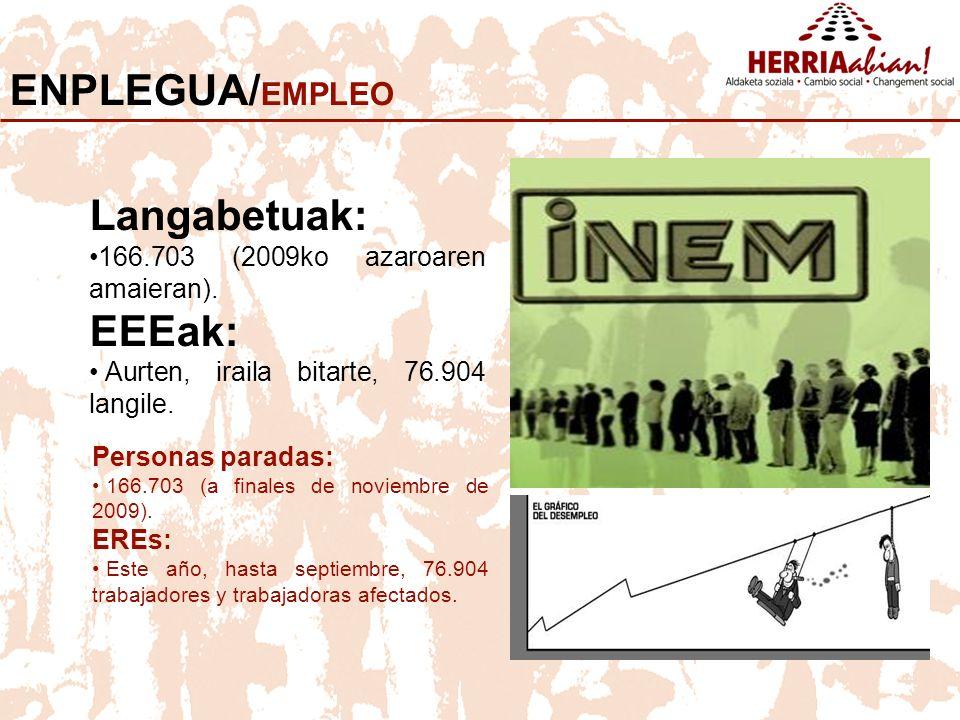 ENPLEGUA/ EMPLEO Langabetuak: 166.703 (2009ko azaroaren amaieran).