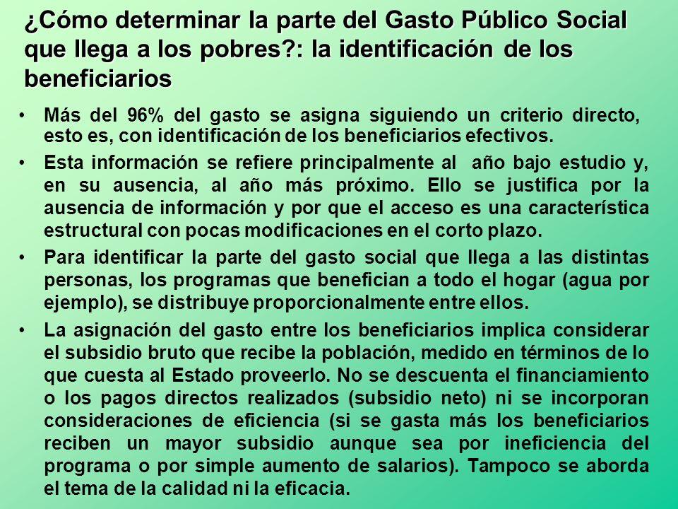 ¿Cómo determinar la parte del Gasto Público Social que llega a los pobres?: la identificación de los beneficiarios Esta información se refiere princip