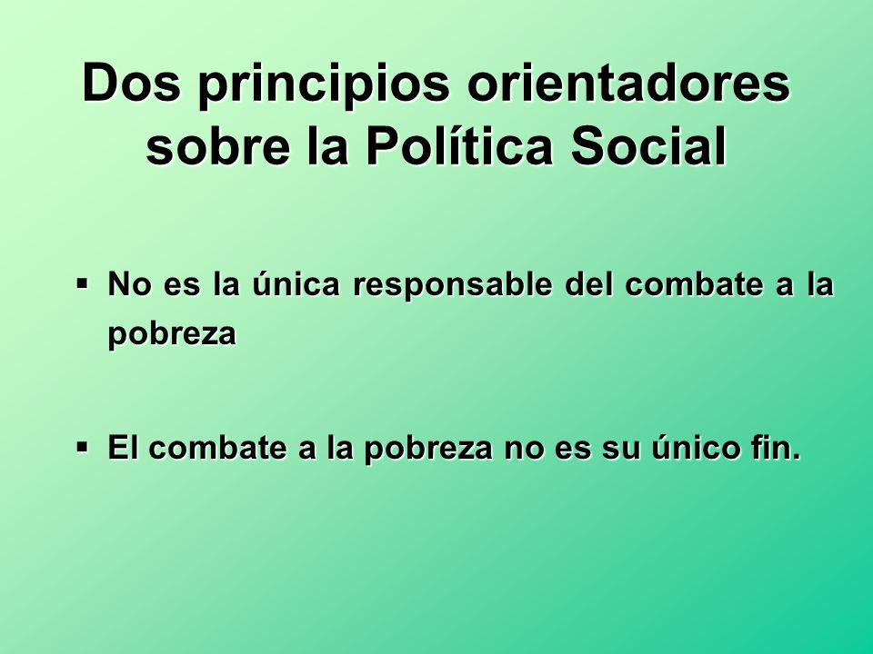 Dos principios orientadores sobre la Política Social No es la única responsable del combate a la pobreza No es la única responsable del combate a la p