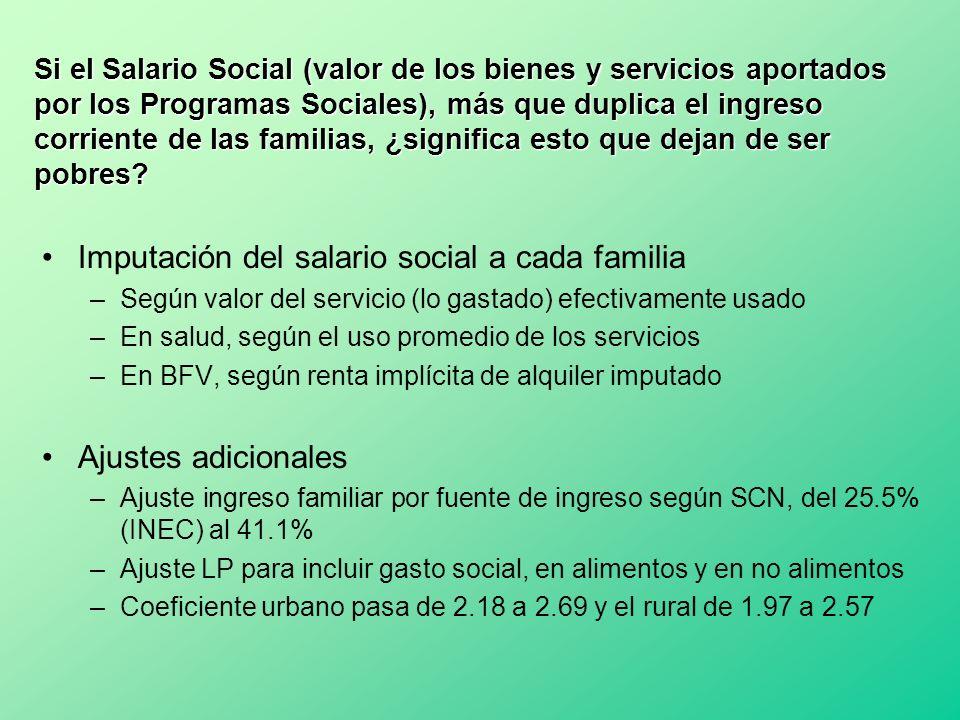 Si el Salario Social (valor de los bienes y servicios aportados por los Programas Sociales), más que duplica el ingreso corriente de las familias, ¿si
