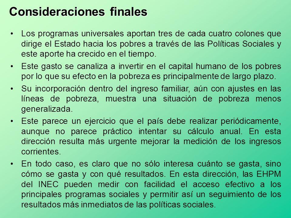 Consideraciones finales Los programas universales aportan tres de cada cuatro colones que dirige el Estado hacia los pobres a través de las Políticas