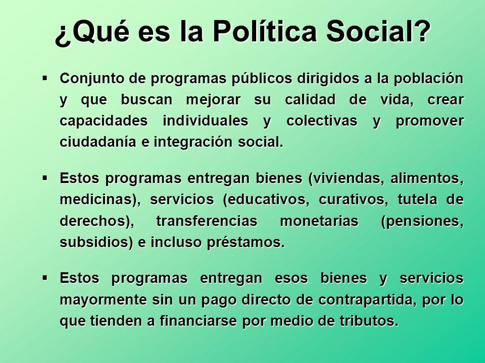 ¿Qué es la Política Social? Conjunto de programas públicos dirigidos a la población y que buscan mejorar su calidad de vida, crear capacidades individ