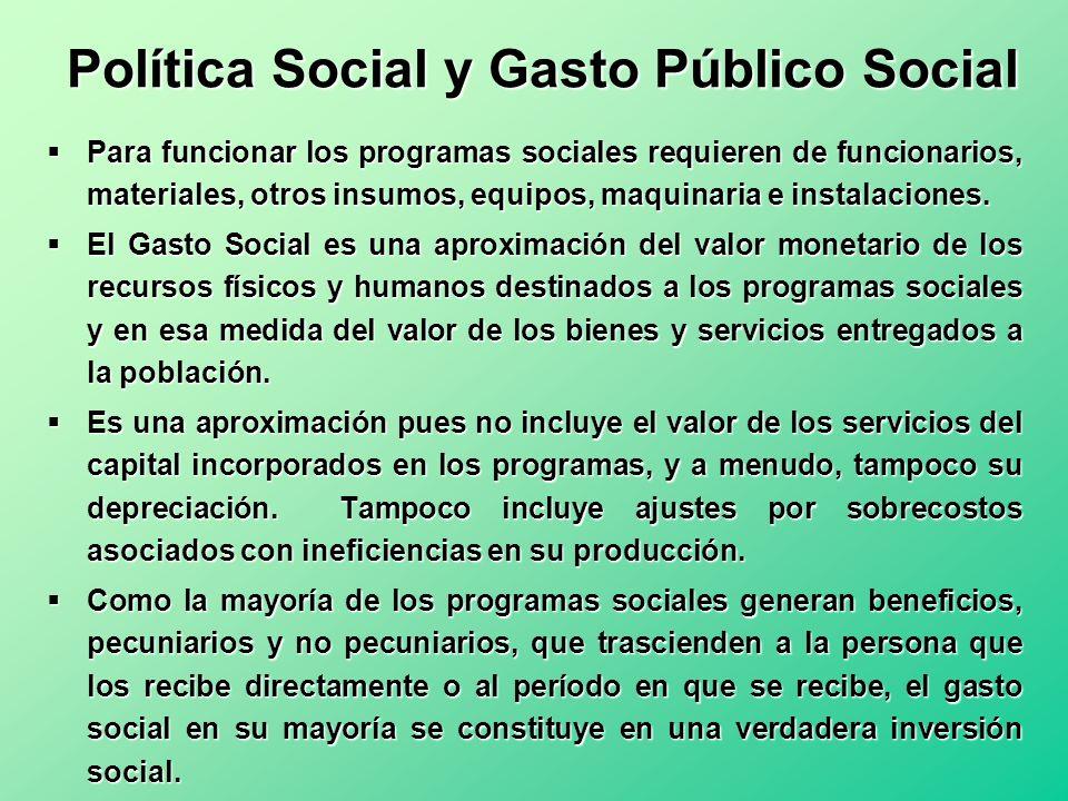 Política Social y Gasto Público Social Para funcionar los programas sociales requieren de funcionarios, materiales, otros insumos, equipos, maquinaria