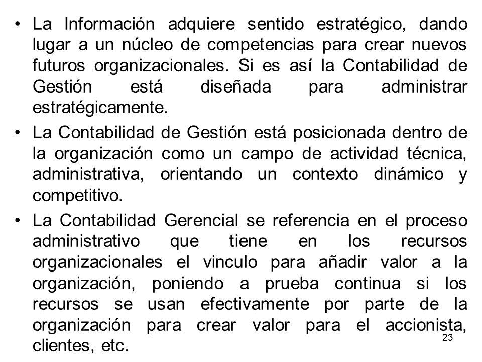 La Información adquiere sentido estratégico, dando lugar a un núcleo de competencias para crear nuevos futuros organizacionales.