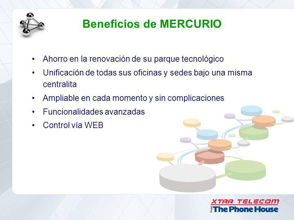 Beneficios de MERCURIO Ahorro en la renovación de su parque tecnológico Unificación de todas sus oficinas y sedes bajo una misma centralita Ampliable