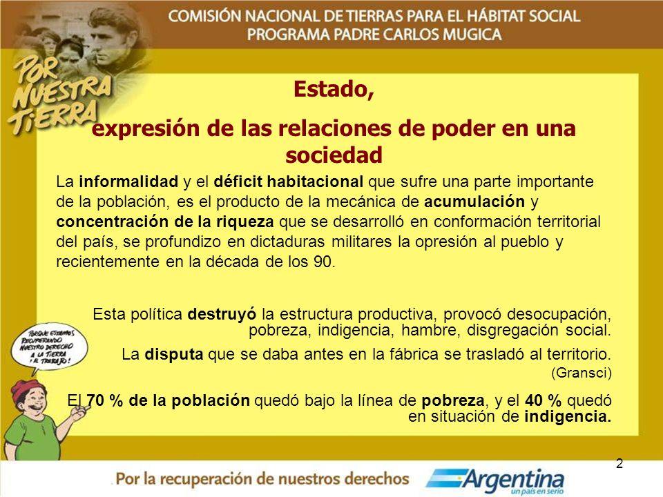 2 Estado, expresión de las relaciones de poder en una sociedad La informalidad y el déficit habitacional que sufre una parte importante de la població