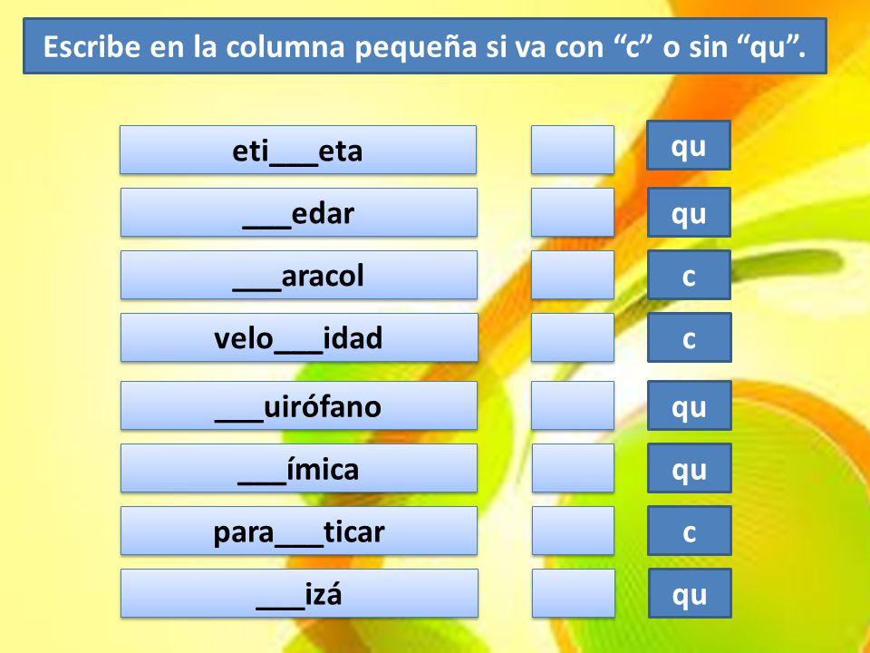 par___e qu boti___ín qu tan___e qu ad___irir qu ___uaderno c c ___edar qu ___uriosidad c c ban___ete qu ___olegio c c lí___ido c c bo___illa qu ___esped c c ___iervo c c bron___a c c po___o c c ___eja qu Escribe en la columna pequeña si va con c o sin qu.